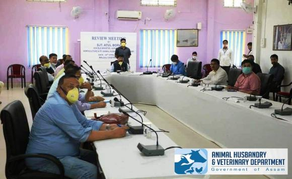 A meeting Chaired by Hon'ble Veterinary Minister amongst the A.H. & Veterinary Officials at Majuli during the Lockdown